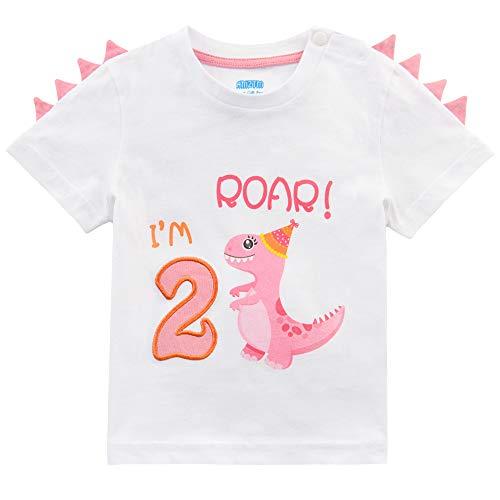 AMZTM Maglietta 2°Compleanno Bambine T-Shirt Ragazze Dinosauro Manica Corta Regalo 2 Anni Compleanno Articoli Tshirt 100% Cotone Stampa Top