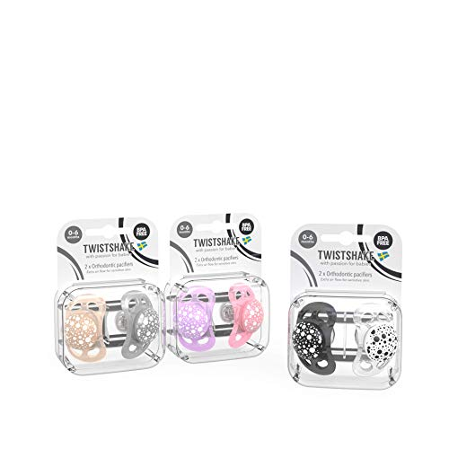 Twistshake Pacifier 0-6m Bundle for Girls with 2PK Black/White, 2PK-Pastel Pink/Pastel Purple, 2PK Pastel Grey/Pastel Beige