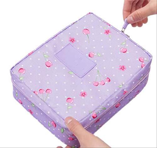 Stockage de Sac de Maquillage de Femmes s'est précipité Nylon Floral Zipper New Travel Wash Pouch J