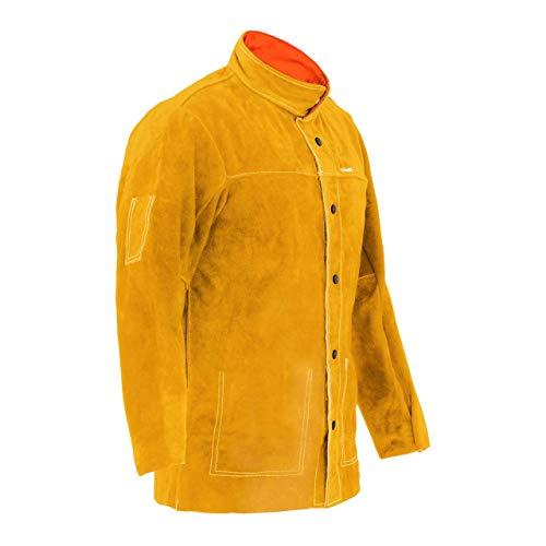Stamos Welding Group Chaqueta De Soldador De Cuero Vacuno SWJ02L (Serraje, Costuras premium resistentes al calor, Color amarillo, Talla L)