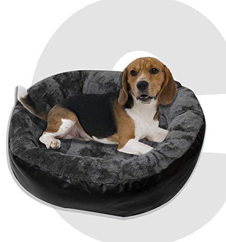 Arcoiris® Cama Perro, Sofá para Perro, Cama para Perros, Gatos, Cama para Mascotas Desmontable y Extraíble Lavable (S, Redondo Negro)