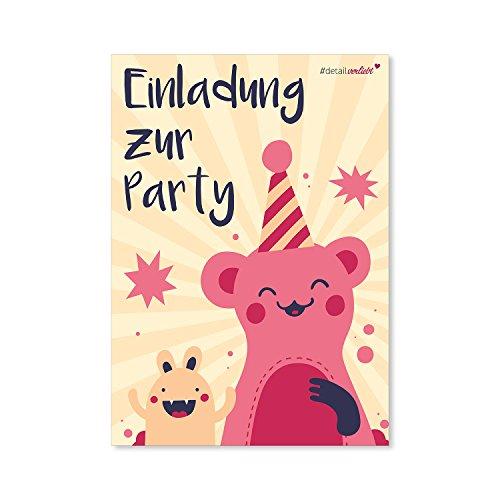 15 Monster Einladungskarten I dv_087 I DIN A6 I Einladung Set Kinder-Geburtstag zum Ausfüllen für Kinder Mädchen pink rosa