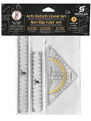 Anti-Rutsch Lineal und Geodreieck 3 in 1 Set rutschfestes Set zum sicheren und einfachen Zeichnen und Messen