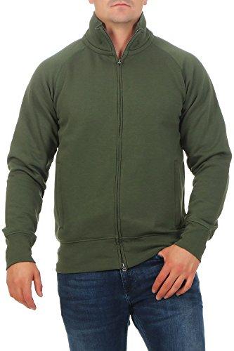 Happy Clothing Herren Sweatjacke ohne Kapuze Zip-Jacke Reißverschluss mit Kragen, Farbe:Grün, Größe:XXL