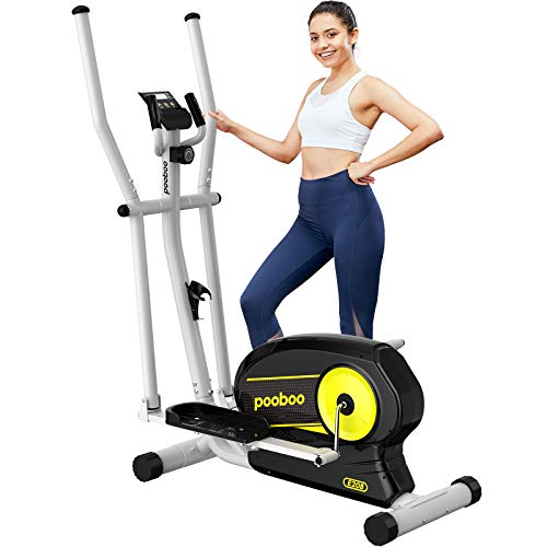 pooboo Elliptical Trainer Magnetic Elliptical Machines for Home Use Portable Elliptical Trainer with Pulse Rate and LCD Monitor (Lemon)