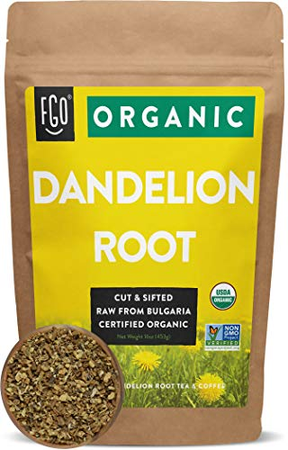 Organic Dandelion Root   Loose Tea (200+ Cups)   16oz/453g Resealable Kraft Bag   100% Raw From Bulgaria   by FGO