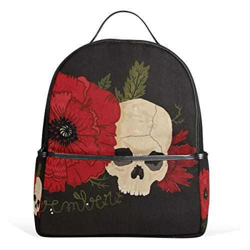 Mochila Linda Safflower Skull Rose Poppy Mochila Mochilas Escolares Mochila Informal para Estudiantes Niñas Niños