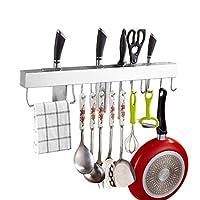 Q-Y-J 壁キッチンラック家庭用シンプルナイフホルダー吊りキッチン用品収納ラック、ステンレススチール、10フック、タオルバー A+++
