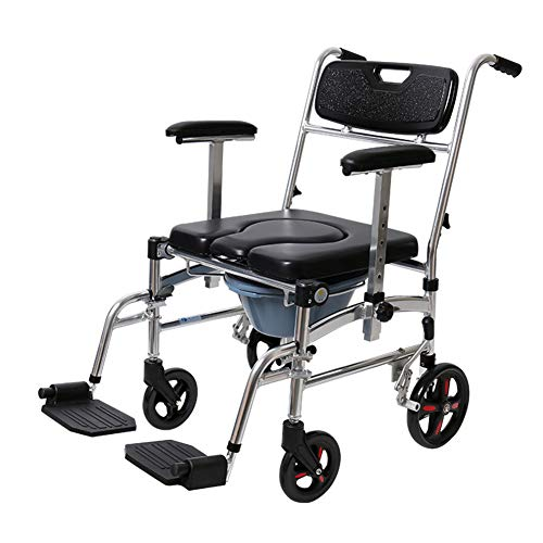 Commode Chair with Wheels - Shower Chair Waterproof Aluminum Portable Bedside Commode Bath Toilet Chair, Adjustable Shower Transport Chair(4 Wheels)