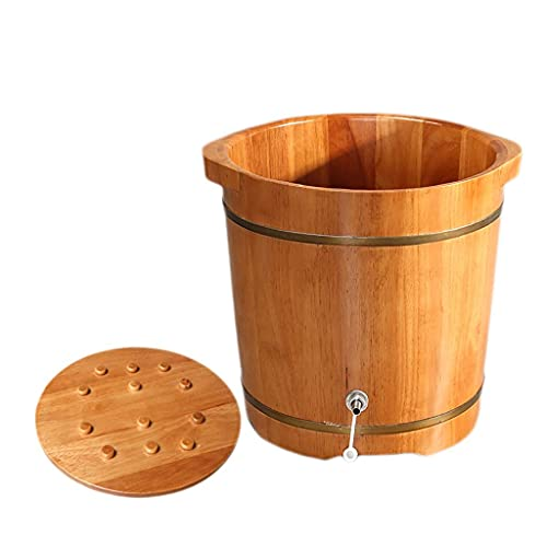 WYZQ Oak Foot Tub, Fumigation Bucket, Footbath, Household Footbath, Massage Bead Design, Suitable for Gift, Home, Hotel, Height 37cm (Massage),Foot Massagers