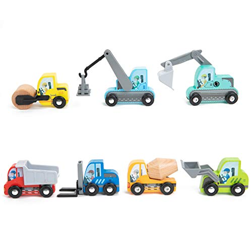 umu Construction Toy Cars 7 PCS Wooden Kids Mini Vehicles for Toddlers, Compatible to Thomas Train Toys Railway and Major Brands, Best for 3 to 5 Year Old Boys and Girls