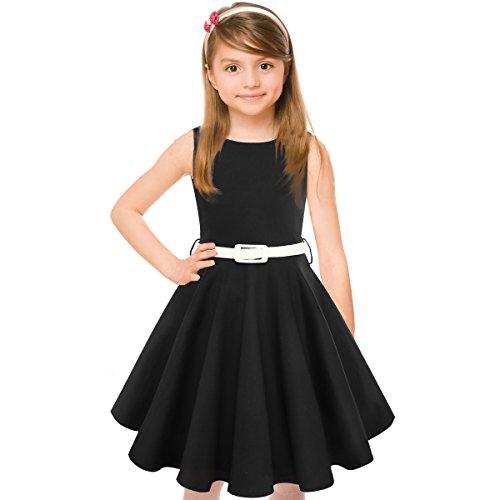 HBBMagic Maedchen Audrey 1950er Vintage Baumwolle Kleid Hepburn Stil Kleid Blumen Kleid Tupfen Kleid, Schwarz, 7-8 Jahre/124-132 CM