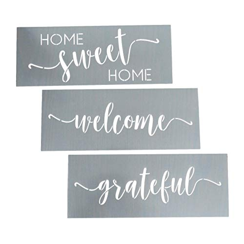 Home Sweet Home, Grateful, Welcome Stencil Set - Word Stencils for Painting on Wood + More – Set of 3 Reusable Script Stencils – Sign Stencils Make Modern DIY Signs + DIY Wall Decor - Phrase Stencils