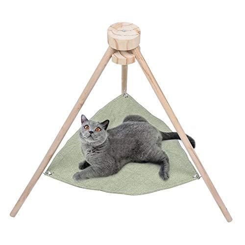 Cikonielf Kat hangmat Afneembare wasbare huisdier bed Summer ademende stof knuffelige hangmat huisdierbed met stabiele driehoekige standaard, groen