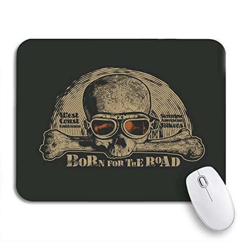 Gaming mouse pad abzeichen vintage motorrad schädel in motorrädern brille biker symbol rutschfeste gummi backing computer mousepad für notebooks maus matten
