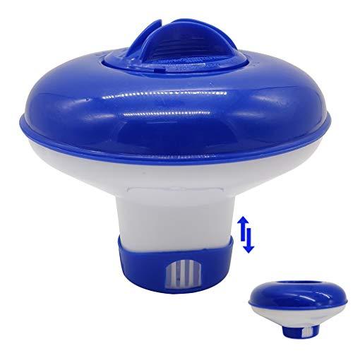Cihely Distributeur flottant de chlore de brome chimique 12,7 cm de diamètre, flotteur pliable de 2,5 cm, mini tablette pour piscine,...