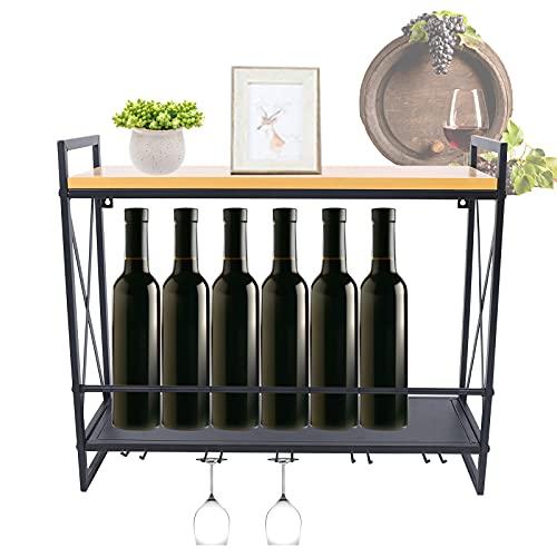 Botellero de madera, botellero, botellero, botellero, soporte de pared, vintage, 60 x 20 x 53 cm, para cocina, comedor, bar, salón y cocina