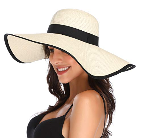 Lanzom Womens Wide Brim Straw Hat Floppy Foldable Roll up Cap Beach Sun Hat UPF 50+ (Style C-Ivory White)