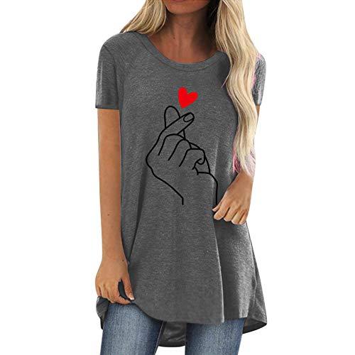 Longshirt Damen Tunika Sommer große größen T Shirt Kurzarm mädchen elegant Oversize Oberteile Geste Liebe Drucken Tops Rundhals Basic Shirt Frauen Pullover Sweatshirt Bluse