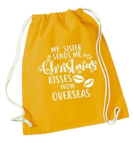 Flox Creative Kordelzugtasche für Schwester, Weihnachts-Küsse, Übersee, senffarben