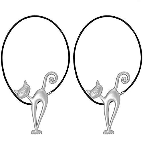 Queta Hebilla Magnética de Cortina 2pcs Abrazaderas Magnéticas para Cortina, Hebilla Magnética de Cortina para Decoración de Hogar y Oficina, Gato (Plata)