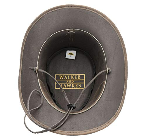 Walker and Hawkes - Leather Cowhide Outback Explorer Antique Hat - Dark Brown - X-Large (60cm)