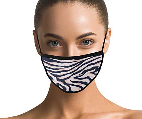 Maske mit Zebramuster waschbar und wiederverwendbar für Damen - Baumwollmaske aus Stoff mit Motiv (Zebra)