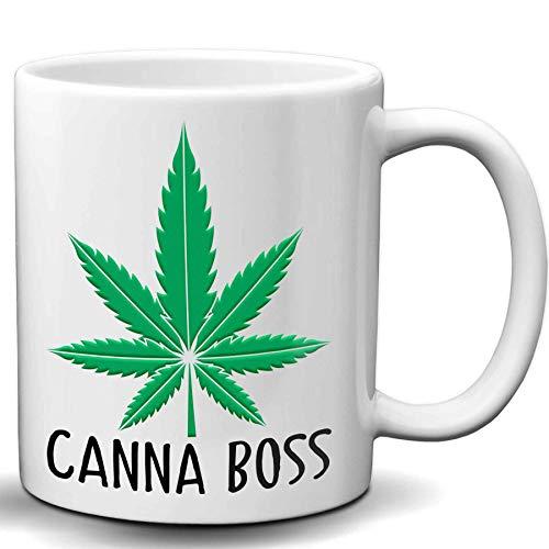 Canna Boss Cannabis Coffee Mug - 11 Oz White Ceramic Marijuana Coffee Mug | Novelty Marijuana Weed Gifts for Stoners & Cannabis Coffee Lovers | Birthday, Christmas, Father's Day Funny Gift Ideas