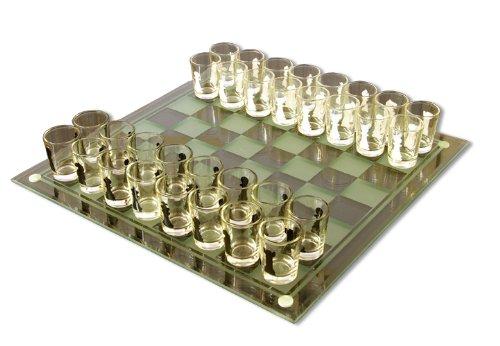 Schach Trinkspiel Trinkschach Glasplatte inklusive Figuren