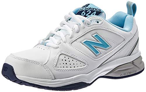 New Balance 624, Zapatillas Deportivas para Interior Mujer, Blanco White Blue, 44 EU