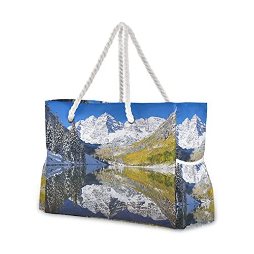 Strandtasche, Kastanienbraun, See und Glocken, 1 x Pool-Tragetasche, Schultertasche, Kordelgriffe, Reißverschluss, große Kapazität, Taschen für Reisen, Strand, Fitnessstudio