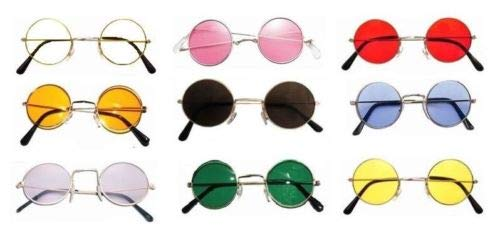 Gafas de disfraz de hippy hippie de los aos 60 y 70 de John Lennon redondas, color verde
