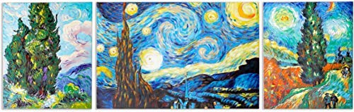 Schilderij -Handgeschilderd op canvas - 3-Luik Inspiration of Vincent van Gogh (Cypresses, Starry Night, Country Road by Night) - 190X60 cm - Art Mall