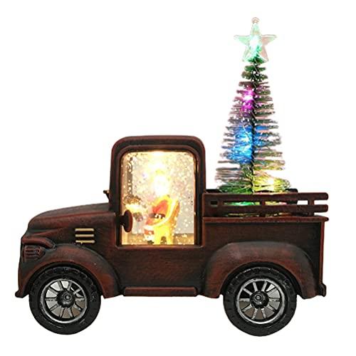 WSTERAO Mini vehículo de construcción para niños, decoración de Navidad para mesa DIY verde pequeño juguete camión Navidad decoración regalo