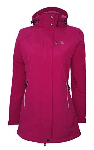 Dry Fashion Damen Softshell Mantel Sylt tailliert Regenmantel Regenjacke, Größe:38, Farbe:sangria