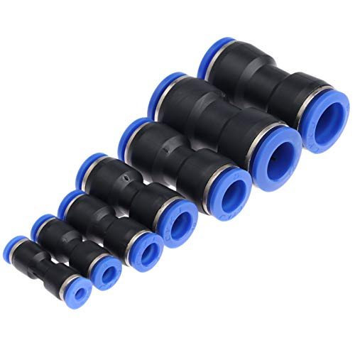 Los conectores sindicales reales neumáticos de 1 UNID presionan los accesorios neumáticos para el tubo de aire de aire con la junta de la tubería de aire 4/6/8 / 10mm / 12mm / 14mm / 16mm DUO ER