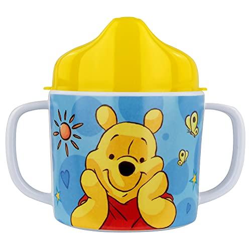 POS 68939 - Vaso para aprender a beber con diseño de Winnie the Pooh de Disney con 2 asas, para niños y niñas, capacidad aprox. 200 ml, de melamina / ABS (sin BPA)