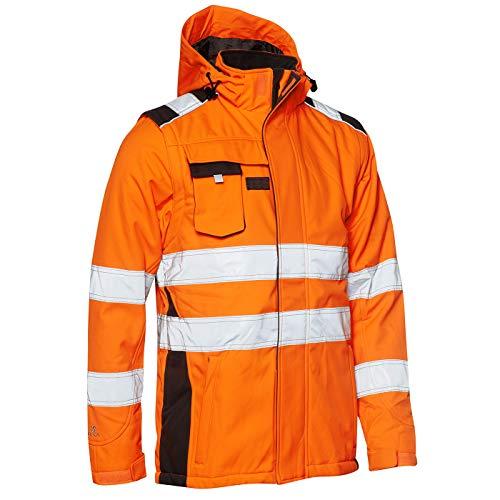 Elka Softshell-Winterjacke abzippbare Ärmel, Warnschutzjacke Orange/Grau, Größe M