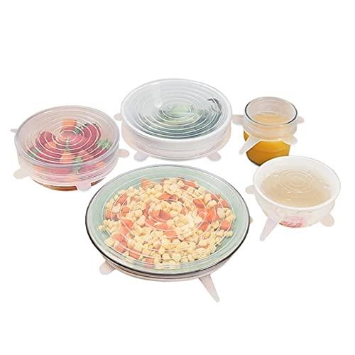 Useful 12 unids Cubierta de alimentos de silicona reutilizable Reutilizable Tapa de silicona elástica 6 W Cocina Sello de envoltura fresca Mantenimiento de silicona Caps UNIV convenient ( Color : E )