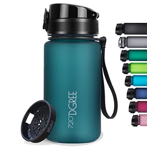 "720°DGREE Botella de Agua ""uberBottle"" softTouch +Tamiz – 350ml | Impermeable y Reutilizable | para Beber Ideal para niños, Deporte, Escuela | Sin BPA"