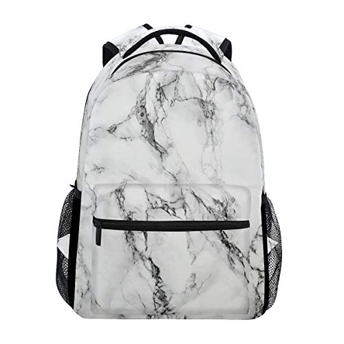 ZOEO White Marble Girls Backpacks Stone Kids School Bookbags Travel Daypack Bag Purse for 3th 4th 5th Grade