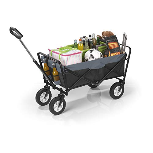 EASYmaxx Bollerwagen faltbar | robust, witterungsbeständig, pflegeleicht | Ausziehbarer Teleskopgriff- Rahmen aus Stahlrohr | Tragfähigkeit ca. 80 kg [schwarz/grau]