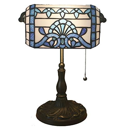 GAUUA Lámpara de Mesa barroca Retro Banquero de Noche Ligth Tiffany Hecho a Mano Lámpara de Cristal de Manchas para luz cálida y Acogedor Sala de Habitaciones Sala de Estar,Azul