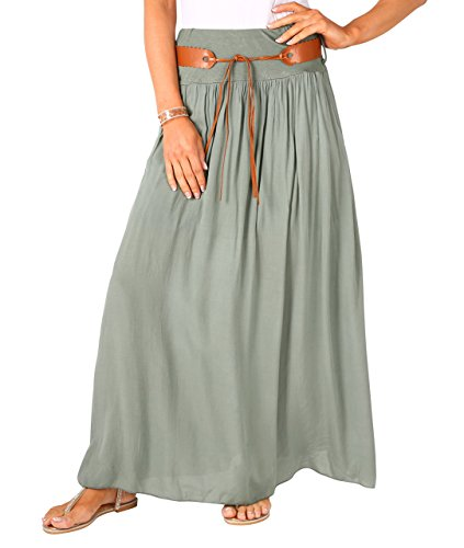 KRISP Moda damska letnia wygodna boho bawełniana maxi długa spódnica plażowa