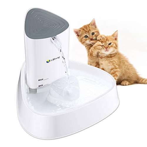 isYoung Fontana per Gatti Fontanella da capacita di 1.5L per Gatto Distributore Automatico Triangolare per Gatto Cane e Piccoli Animali Drinkwell dell'aqua circolata e Regolabile - Bianco