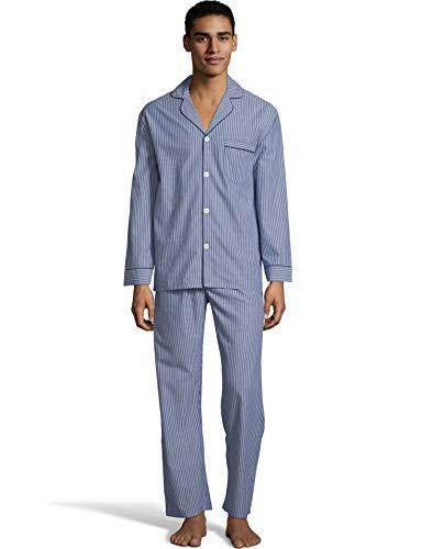 Hanes Mens Woven Pajamas, XL, Blue Stripe