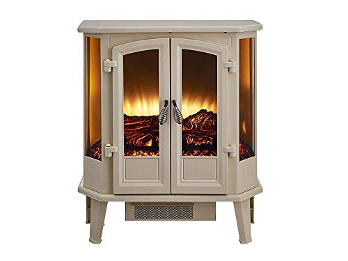 HEARTHPRO 5-Sided Infrared Stove Fireplace Heater | Electric Fireplace Stove Heater Freestanding Indoor, Realistic Flame Logs Effects and Overheating Safety (Cream)