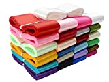 Jesep 1 1/2' Single Face Satin Ribbon Fabric Bulk Ribbon for Gift Wrapping, Bow,Craft, Wreath,Binding Blanket 100 Yards 25 Colors (Multi-Color)