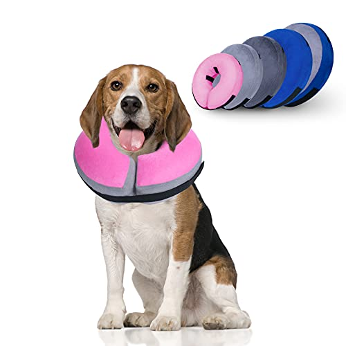 Dunhuang Pet Protective Inflatable Collar, Dog Cone Collar Soft for Dogs and Cats After Surgery, Prevent Pets from Biting & Scratching (M, Grey-Pink)
