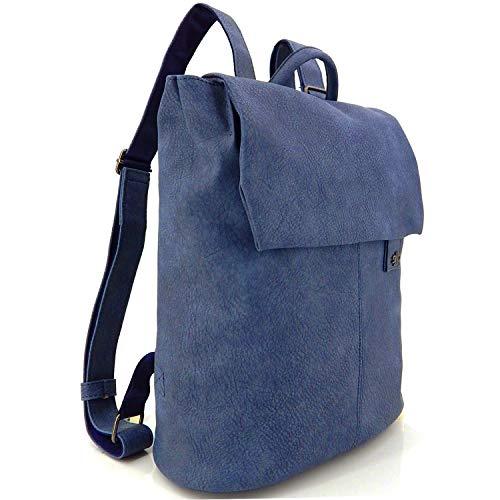 ekavale - Elegante mochila para mujer y niña – City Daypack de aspecto de piel – Pequeña mochila escolar, color Azul, talla Medium